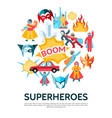 flat superheroes round concept vector image vector image