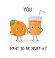 Funny characters glass of orange juice and orange vector image vector image