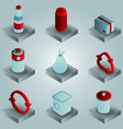 garbage color gradient isometric icons vector image vector image