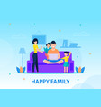 happy family at home conceptual banner template vector image vector image
