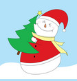 happy snowman is holding christmas tree clip art vector image