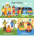 hippie design concept set vector image