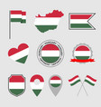 hungary flag icons set symbols flag of vector image vector image