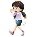 isolated girl character walking vector image vector image