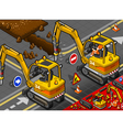 Isometric Mini Chisel Excavator in Rear View vector image