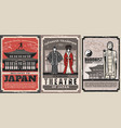 japan travel traditional retro postes vector image vector image