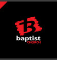 letter b and cross church of jesus christ logo vector image vector image