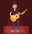 man play acoustic guitar on red spotlight vector image vector image
