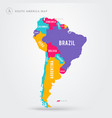 map south america with name labels vector image vector image