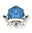 natural 20 critical hit d20 dice roll grunge vector image vector image