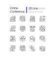online conference linear icons set