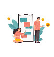 phone chat cartoon man and woman exchange vector image vector image