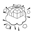 pop art gift box cartoon in black and white vector image vector image