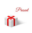 present white box with a bow tied with ribbon vector image vector image