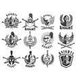set knight emblems design elements for logo vector image vector image