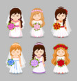 set of beautiful brides with wedding bouquet vector image vector image