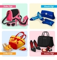 Set of women bags shoes and accessories vector image vector image