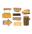 set of wooden sign boards planks logs wooden vector image
