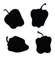 set silhouettes lettuce peppers vector image