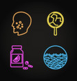 set skin problems concept neon icons vector image