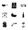Trash icons set simple style vector image vector image