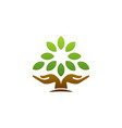 tree hand logo wellness symbol icon design vector image vector image