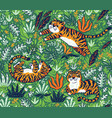 tropical seamless pattern with funny tigers in vector image vector image