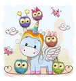 unicorn and owls vector image vector image