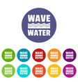 wave water icons set color vector image vector image