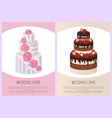 wedding cakes set sweet bakery posters set vector image