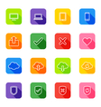 white line web icon set colorful rounded rectangle vector image vector image