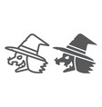 witch line and glyph icon magic and halloween vector image vector image