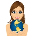 woman holding earth globe with her hands vector image vector image