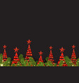 background with red abstract christmas trees vector image