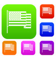 american flag set color collection vector image