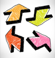 4 hand drawn color arrows vector image