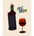 abstract vintage poster bottle red wine vector image vector image