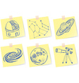 astronomy and observatory sketches on paper notes vector image
