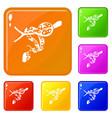 ball python icons set color vector image vector image