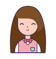 beauty girl with hairstyle and uniform clothes vector image vector image