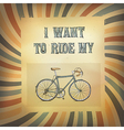 bicycle retro rays poster vector image vector image