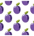 Blue plum seamless pattern vector image