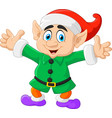 Cartoon christmas elf waving with both hands