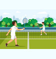 cartoon father plays with son in tennis vector image vector image