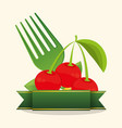 cherry food healthy stamp vector image vector image