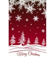 Christmas background with fir-trees and snowflakes vector image