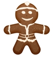 Christmas symbol - gingerbread man shape vector image vector image
