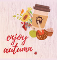 colorful enjoy autumn card vector image vector image