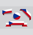 czech flag stickers and labels vector image vector image