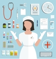 Doctor with Pills Medications Bottles vector image